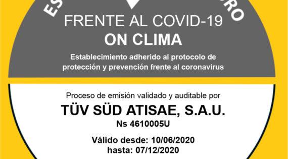 ON CLIMA, una empresa libre de Covid-19